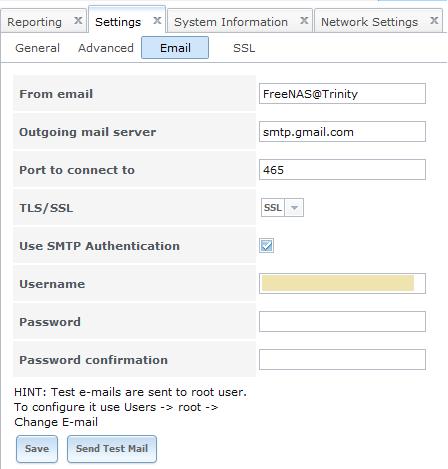 FreeNAS - Configuration de l'envoi des emails