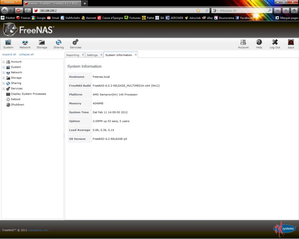 Interface web utilisateur de freeNAS