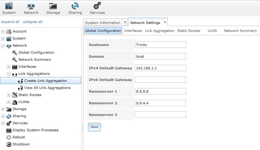 Configuration réseau de FreeNAS