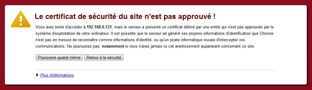 Freenas : alerte certificat non approuvé
