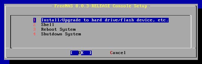 Installation de FreeNAS depuis le CD-ROM