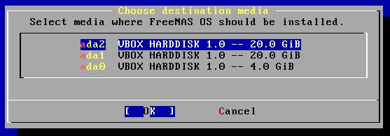 Installation de FreeNAS depuis le CD - choix du lecteur