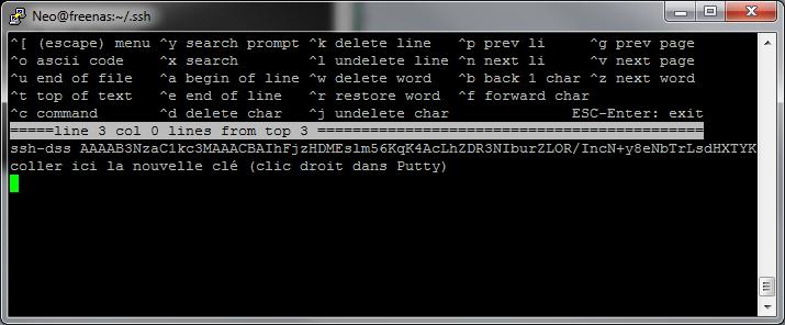Freenas Connexion SSH par clé