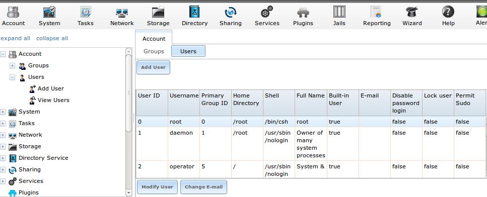 Définition de l'adresse mail de root