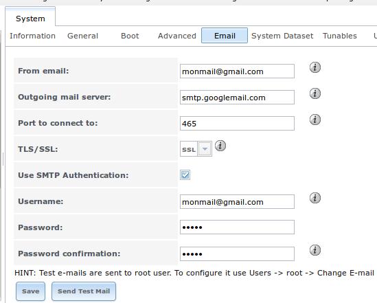 Paramètres e-mail