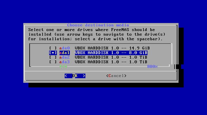 Choix du disque pour l'installation du système