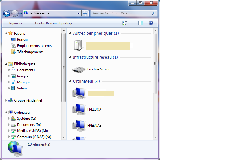 Windows fenêtre réseau