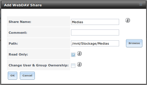 Création d'un partage WebDAV