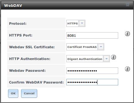 Configuration du service WebDAV